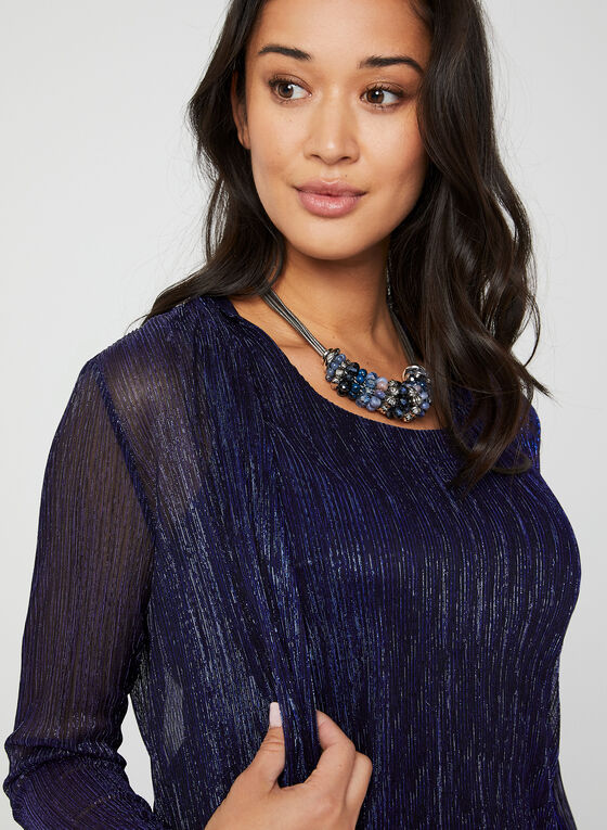 Crinkle Mesh Fooler Top, Blue, hi-res