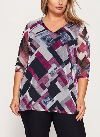 Illusion Sleeve V-Neck Top , , hi-res