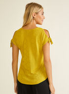Knot Detail Pointelle Sweater, Yellow