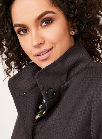 Manteau à col montant et motif damier, Noir, hi-res