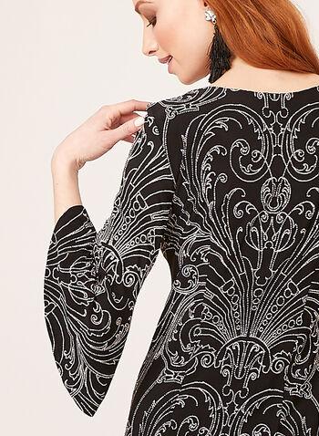 Baroque Style Puff Print Popover Dress, Black, hi-res