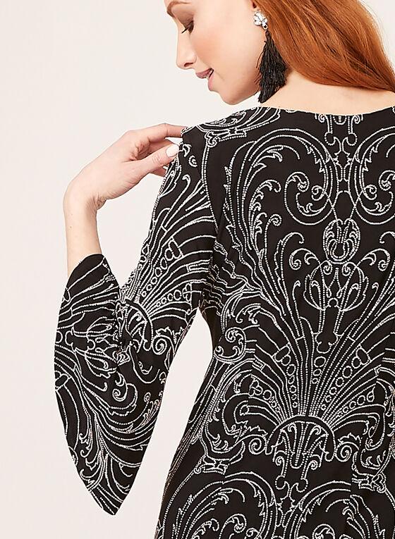 Robe droite imprimé baroque, Noir, hi-res