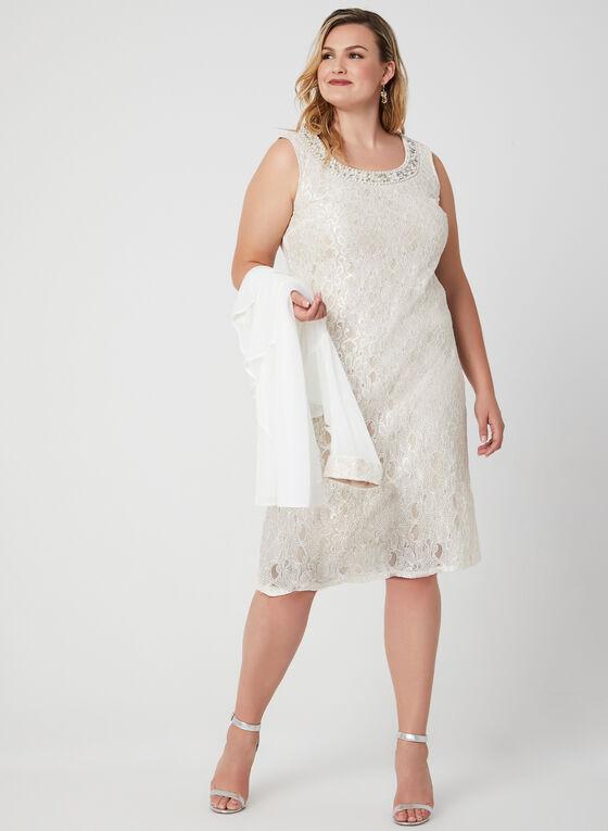 Glitter Lace Dress & Chiffon Duster, Off White, hi-res