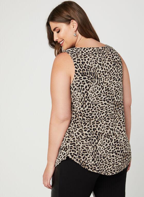 Haut sans manches à motif léopard , Brun, hi-res