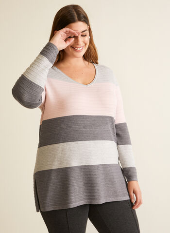 Ottoman Knit Colour Block Sweater, Pink,  fall winter 2020, sweater, long sleeves, knit, V-neck, blocks, colors, ottoman