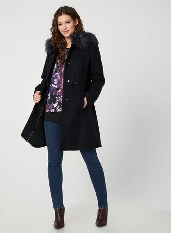 Faux Fur Trim Coat, Blue,  coat, long sleeves, wool blend, hood, faux fur, toggle, fall 2019, winter 2019