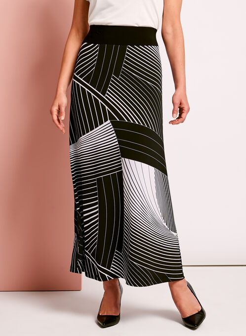 Abstract Stripe Print Maxi Skirt, Black, hi-res