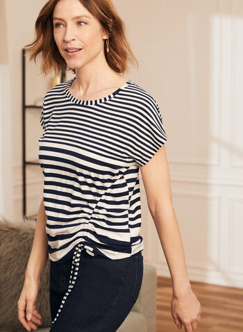 Stripe Print Drawstring Detail Tee, Blue,  top, tee, t-shirt, stripe print, drawstring, short sleeves, spring summer 2021
