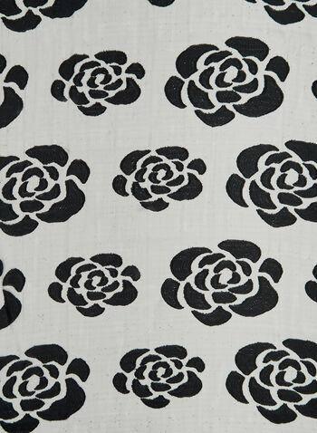 Foulard pailleté à imprimé de roses, Noir, hi-res,  paillettes, fleurs, floral, motif, motifs, jeu de transparence, soirée, automne hiver 2019