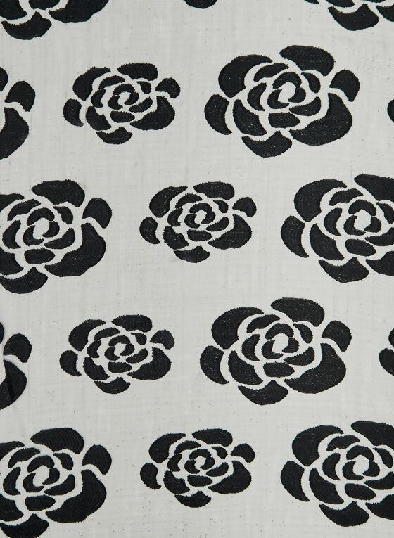 Foulard pailleté à imprimé de roses, Noir, hi-res