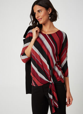 3/4 Sleeves Stripe Top, Red, hi-res,