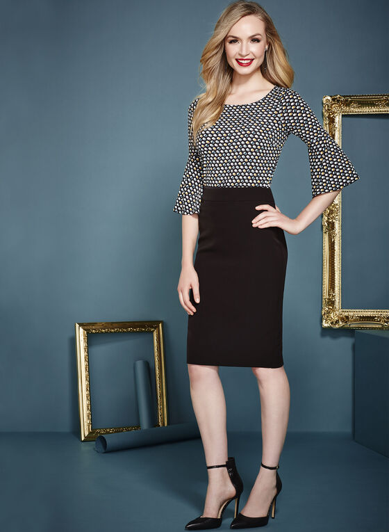 Dot Print ¾ Bell Sleeve Top , Black, hi-res
