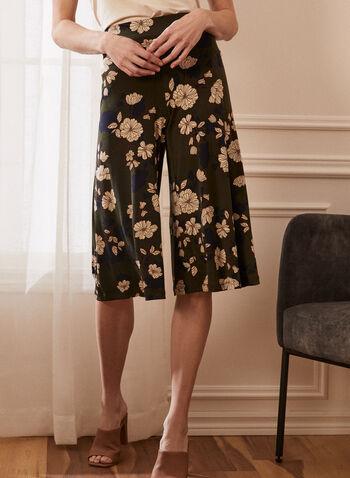 Pantalon gaucho pull-on à fleurs, Vert,  capri, pull-on, gaucho, fleurs, jersey, printemps été 2021