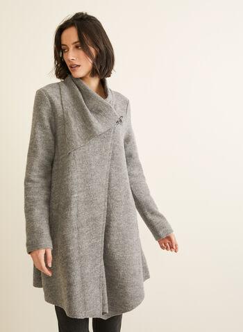 Carré Noir - Boiled Wool Coat, Grey,  coat, boiled wool, clip, asymmetric, fall winter 2019