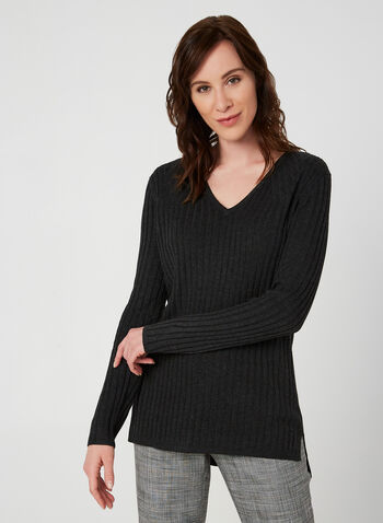 Ribbed V-Neck Sweater, Grey, hi-res,  sweater, knit, ribbed, long sleeves, V-neck, fall 2019, winter 2019