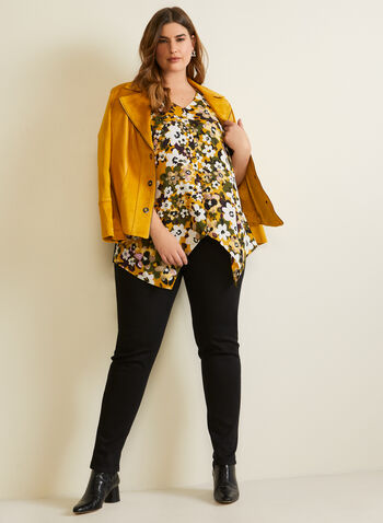 Floral Print Sleeveless Top, Yellow,  fall winter 2020, top, sleeveless, floral, asymmetric, crepe