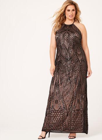 Sequin Embellished Halter Neck Gown , , hi-res