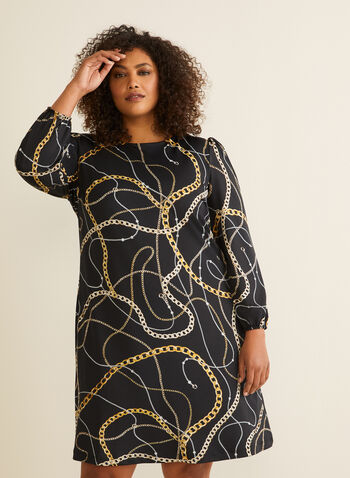 Frank Lyman - Chain Motif Balloon Sleeve Dress, Black,  day dress, balloon sleeves, chain, jersey, spring summer 2020