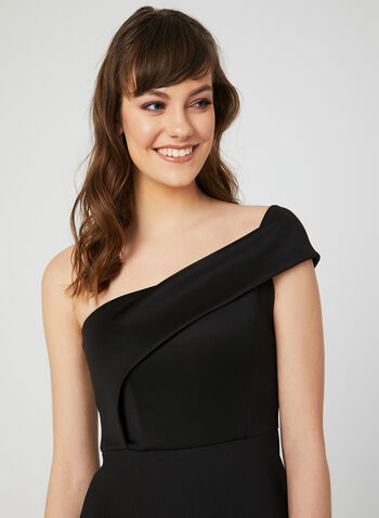 One-Shoulder Mermaid Gown, Black, hi-res