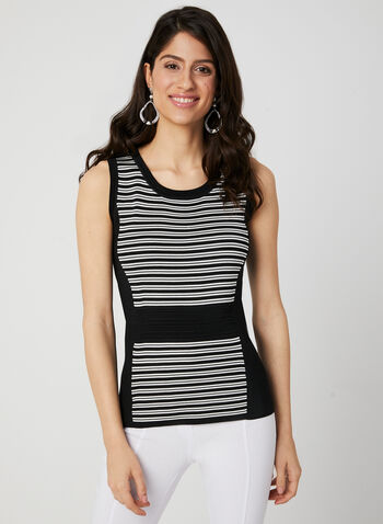 Sleeveless Stripe Knit Top, Black, hi-res,  tank top, rayon top, viscose camisole, knit tank top