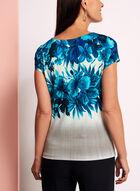 Blurred Floral Print Top, White, hi-res