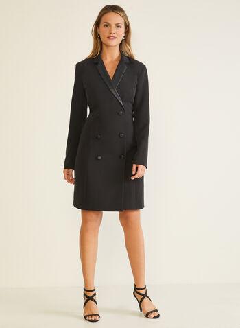 Robe tuxedo à manches longues, Noir,  robe cocktail, tuxedo, col cranté, manches longues, boutons, automne hiver 2020
