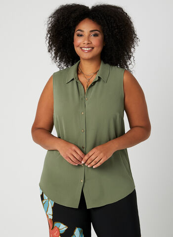 Sleeveless Crepe Blouse, Green, hi-res