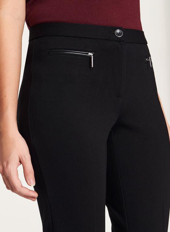 Pantalon à jambe droite et détail cuir aux poches, Noir, hi-res