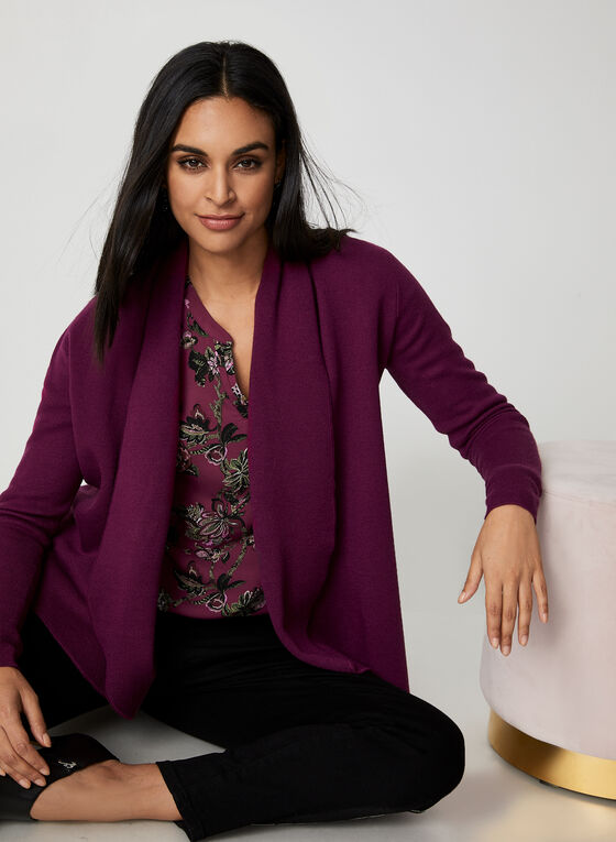 Open Front Knit Cardigan, Purple