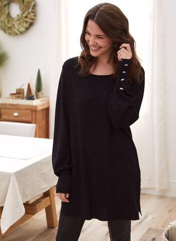 Pull scintillant à détails boutonnés, Noir,  automne hiver 2020, pull, tricot, à enfiler, manches longues, boutons surdimensionnés, lurex