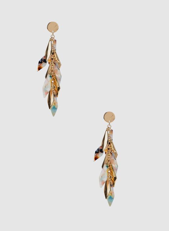 Cluster Dangle Earrings, Gold, hi-res