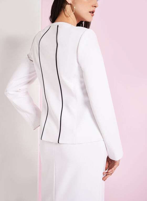 Pipping Trim Crew Neck Jacket, Off White, hi-res