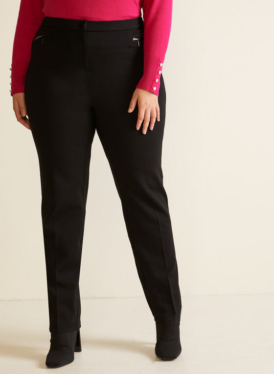 Vegan Leather Detail Signature Fit Pants, Black