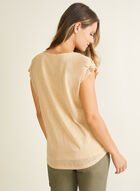 Ruched Sleeve Linen-Like Top, Off White