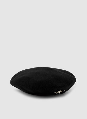 Starburst Pin Beret, Black,  starburst detail beret