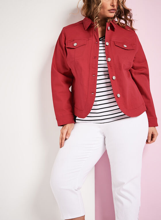 Solid Denim Jacket, Red, hi-res