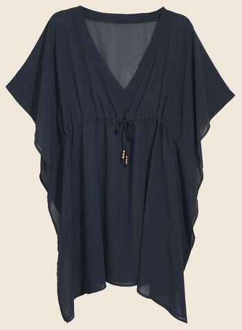 Echo - Chiffon Swimsuit Cover-Up, Blue,  cover-up, swimwear, chiffon, v-neck, spring summer 2020