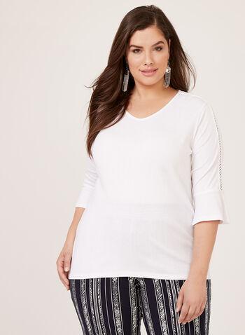 T-shirt manches coude évasées et détails crochet, Blanc, hi-res