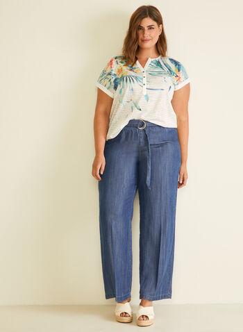 T-shirt rayé et tropical , Blanc,  t-shirt, manches courtes, col boutonné, tropical, rayures, lin, printemps été 2020