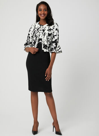 Floral Print Dress & Jacket Set, Black, hi-res