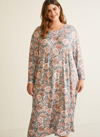 Robe de nuit florale à manches longues, Bleu,  automne hiver 2020, robe de nuit, pyjama