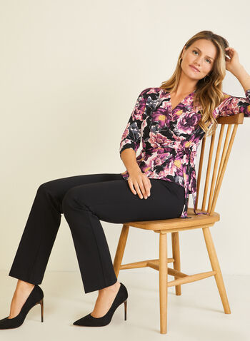 Floral Print 3/4 Sleeve Top, Purple,  top, crossover, wrap, tie, v-neck, floral, jersey, 3/4 sleeves, fall winter 2020