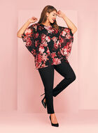 Floral Print Angel Sleeve Blouse, Red, hi-res
