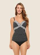 Christina - Geometric Print Two-Piece Swimsuit, Black