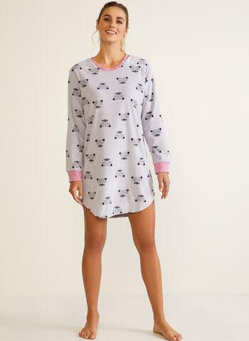 Animal Print Nightshirt, Grey,  fall winter 2020, pyjamas, nightshirt, animal print, contrast, round neck, long sleeves