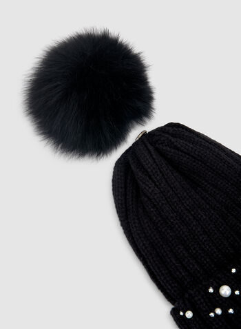 Pearl Embellished Tuque, Black,  tuque, fox fur, fur, fur hat, hat, pompom, pearls, acrylic hat, acrylic tuque, fall 2019, winter 2019