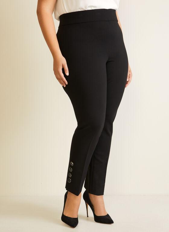 Button Detail Straight Leg Pants, Black