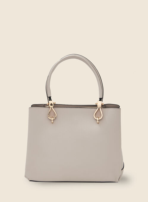 Large Satchel Handbag, Off White