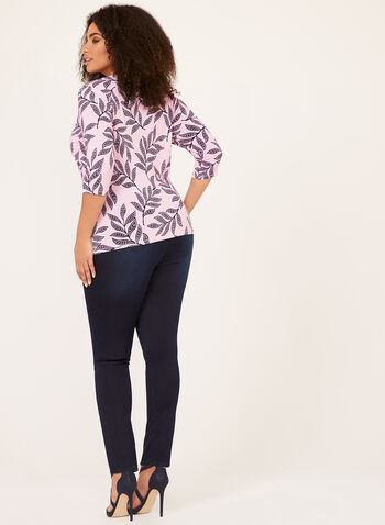 Leaf Print Drape Front Top, Multi, hi-res