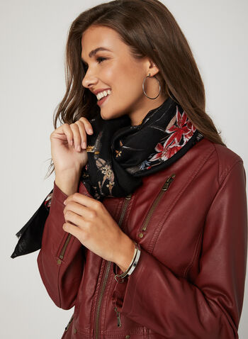 Ness - Faux Leather Jacket, Red, hi-res